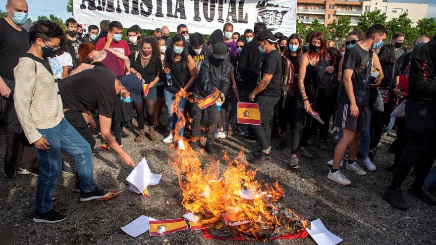 Manifestación en Lleida contra los tres meses de encarcelamiento de Hasél