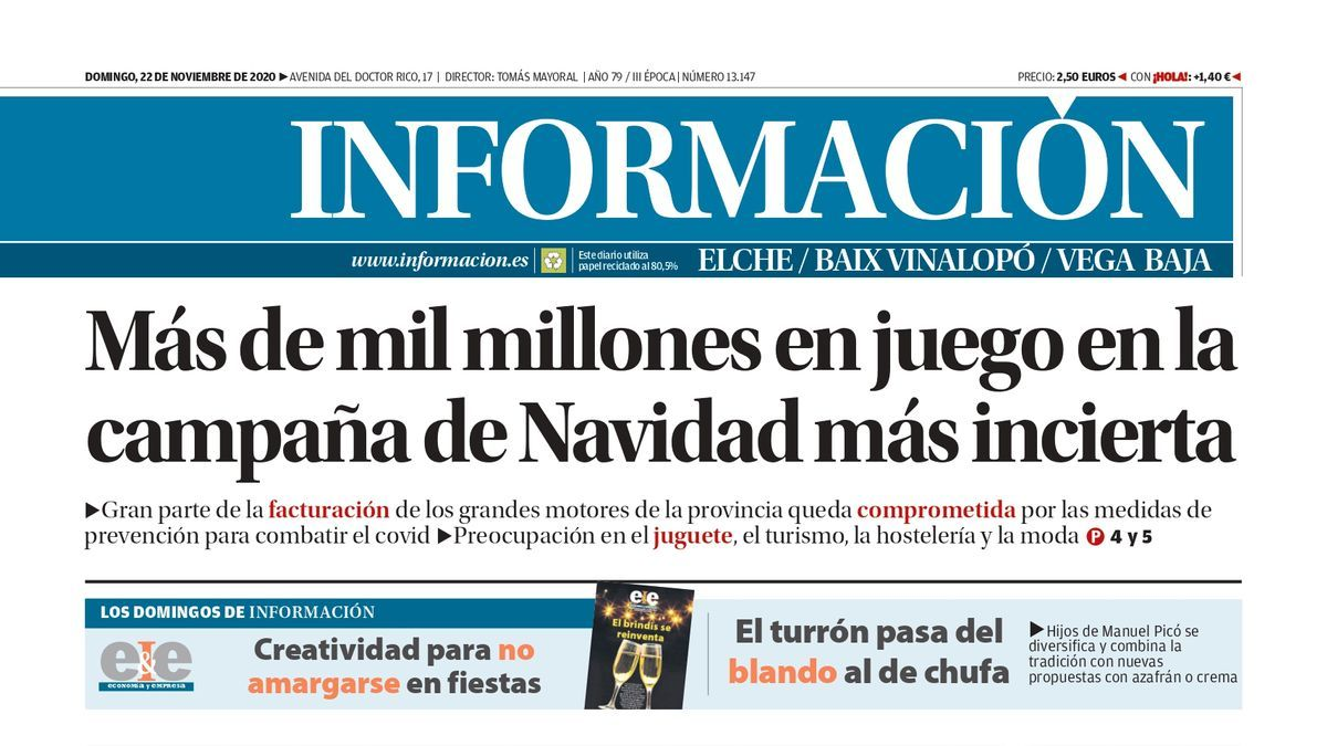 Portada del Diario Información del domingo 22 de noviembre de 2020