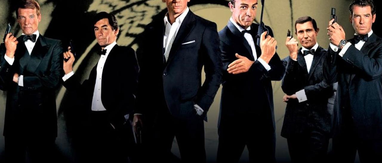 Roger Moore, Thimoty Dalton, Daniel Craig, Sean Connery, George Lazenby y Pierce Brosnan.