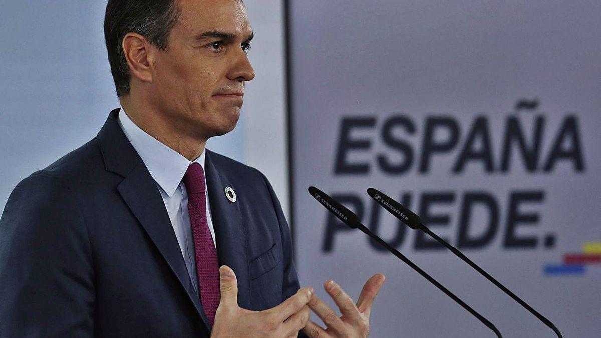 Pedro Sánchez, ayer, durante su comparecencia en Madrid tras la reunión virtual del G20.