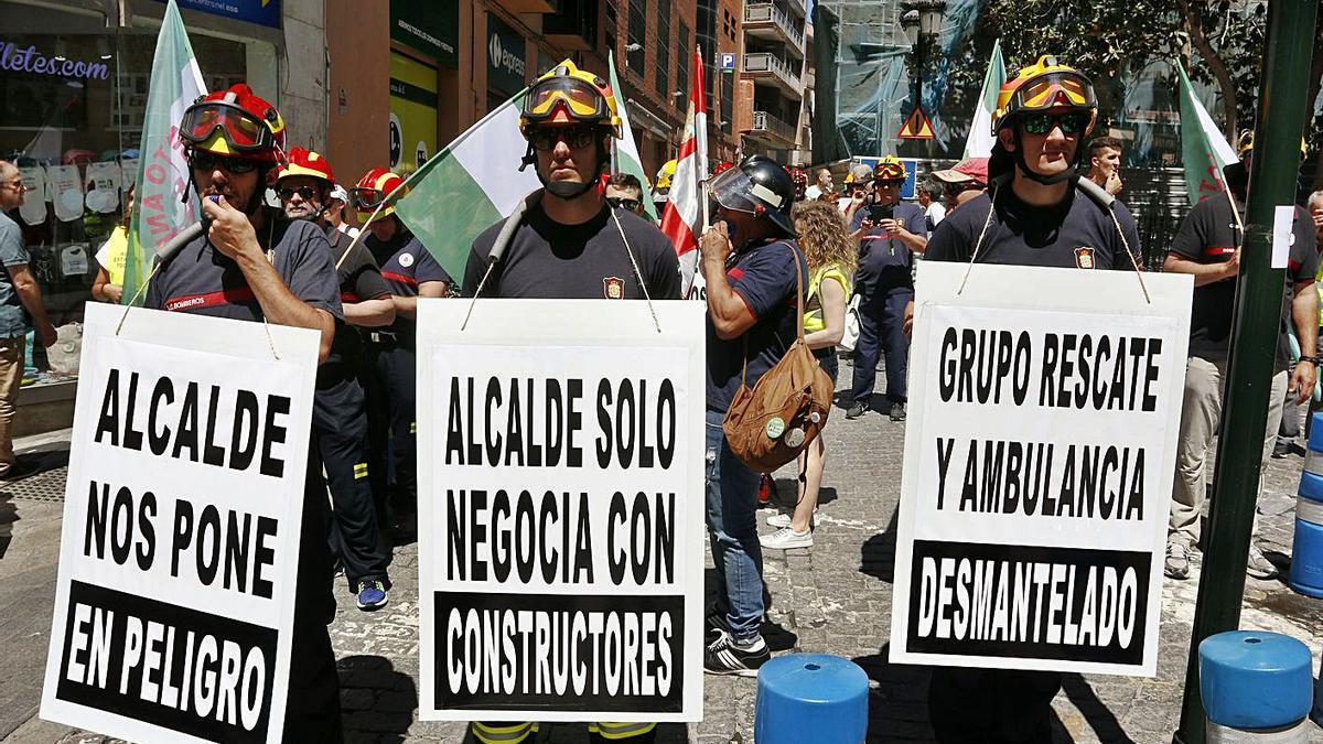 Una protesta de los Bomberos en mayo de 2019.