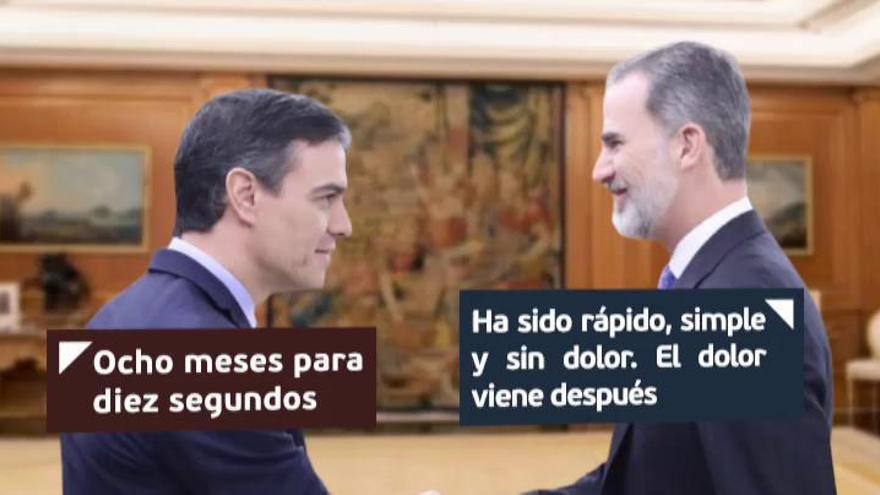 """Felipe VI, a Sánchez: """"Ha sido rápido, simple y sin dolor; el dolor viene después"""""""