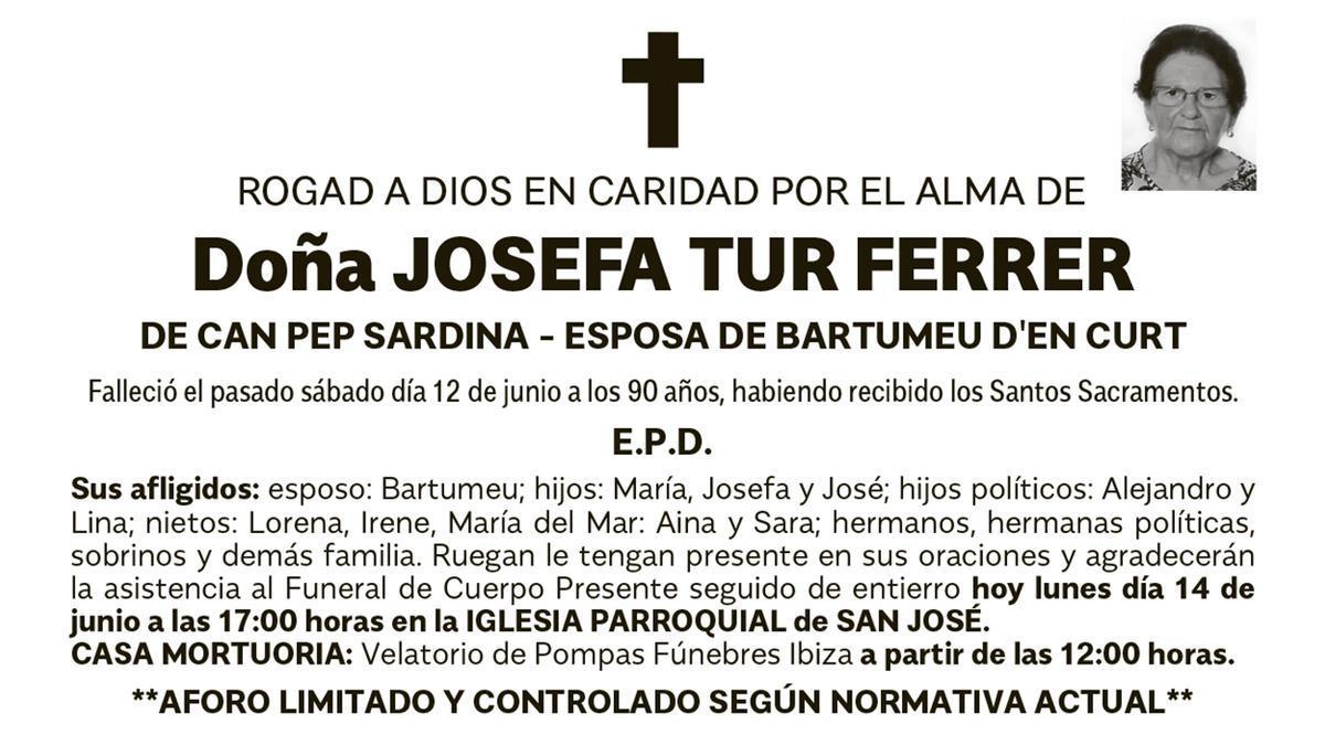 Esquela Josefa Tur Ferrer