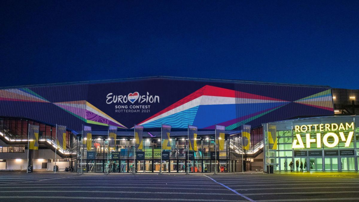 Image of the exterior of the Rotterdam Ahoy, venue of Eurovision 2021.