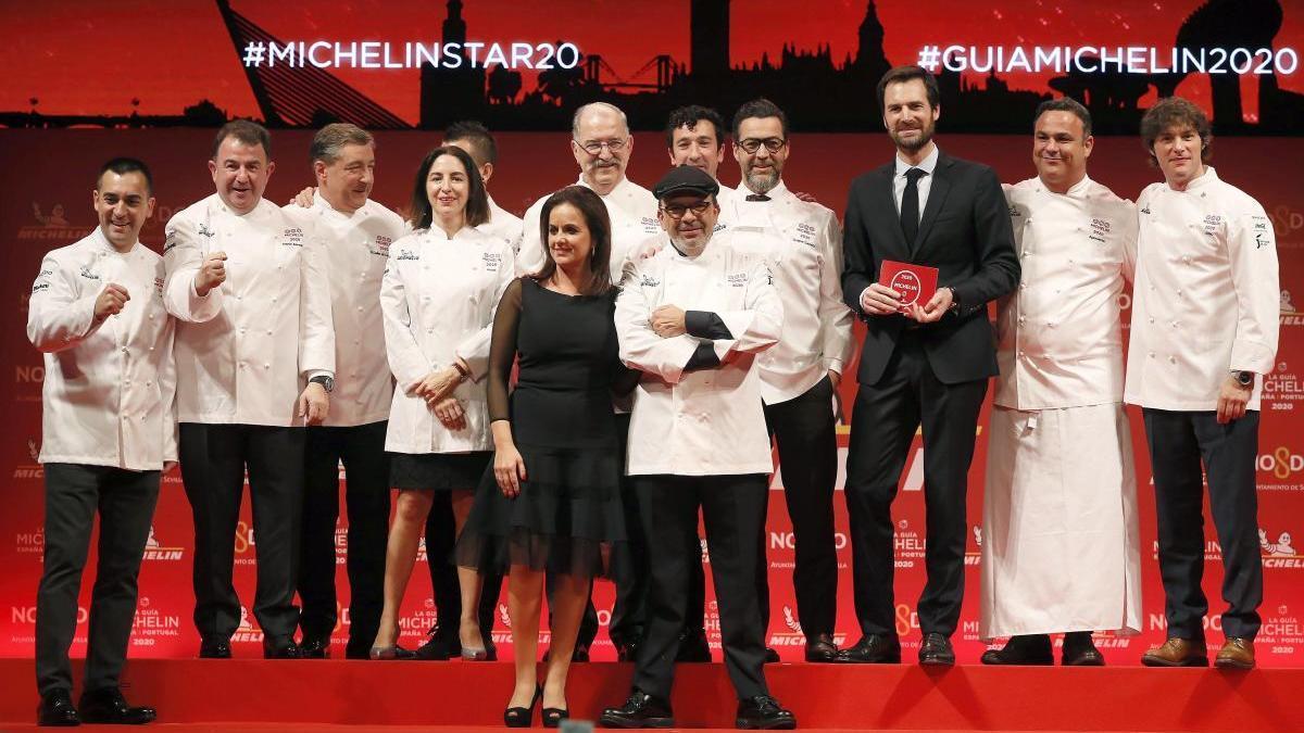 Los cocineros durante la presentación de la Guía Michelín España y Portugal 2020.