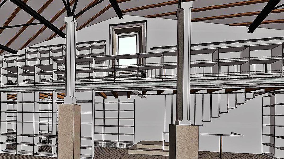 Recreación del interior tras la reforma (al fondo a la derecha, la escalera). |   // L.O.