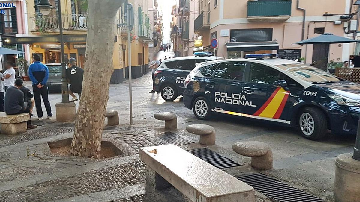 Patrullas de la Policía Nacional, durante una intervención en la plaza Drassana, en Palma. | CNP