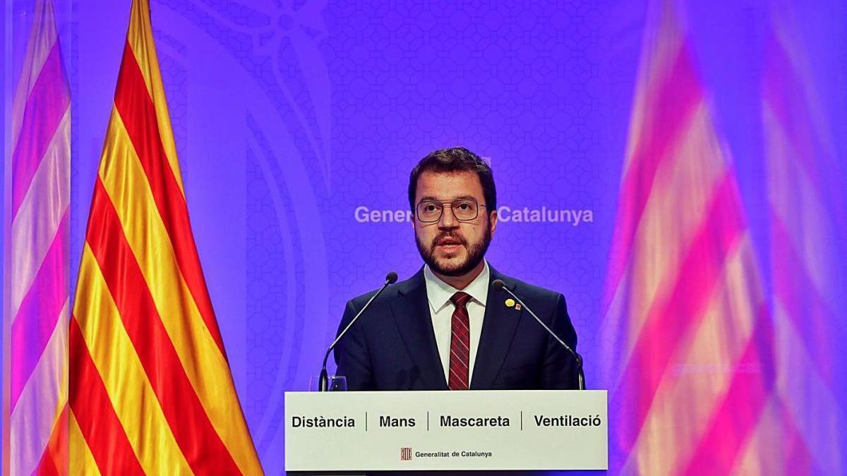 Pere Aragonès, en la seva compareixença d'ahir per explicar l'entrada «a una nova etapa»