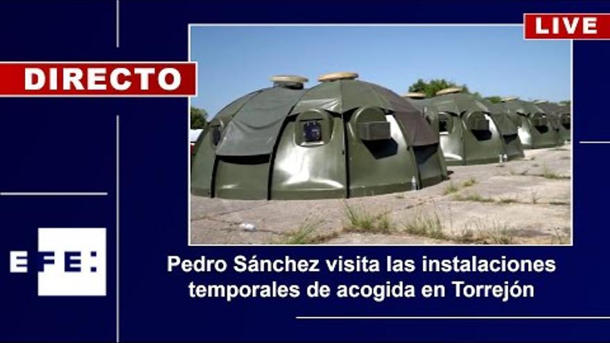 Sánchez, Von Der Leyen, Michel y Borrell visitan las instalaciones temporales de acogida en Torrejón
