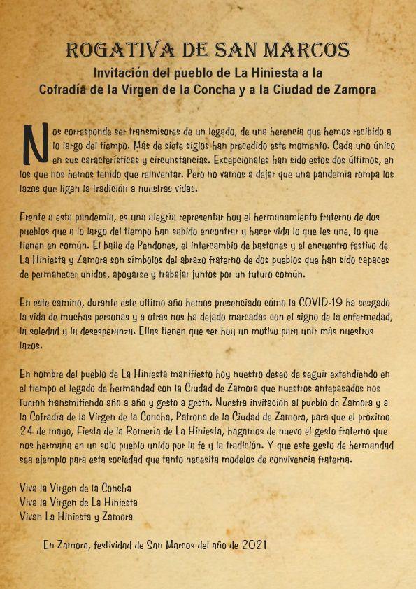 Invitación del pueblo de La Hiniesta a Zamora con motivo del atípico San Marcos por la pandemia.