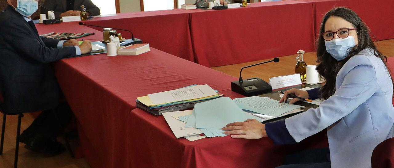 Tan cerca, tan lejos. Puig y Oltra, en primer término, en el pleno del Consell celebrado hace dos semanas.