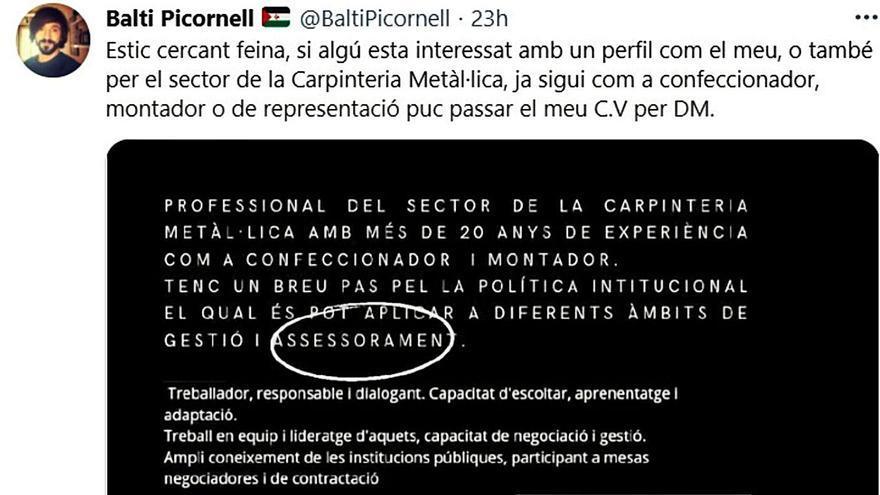 Extraoficial | Balti Picornell: de presidir el Parlament al paro