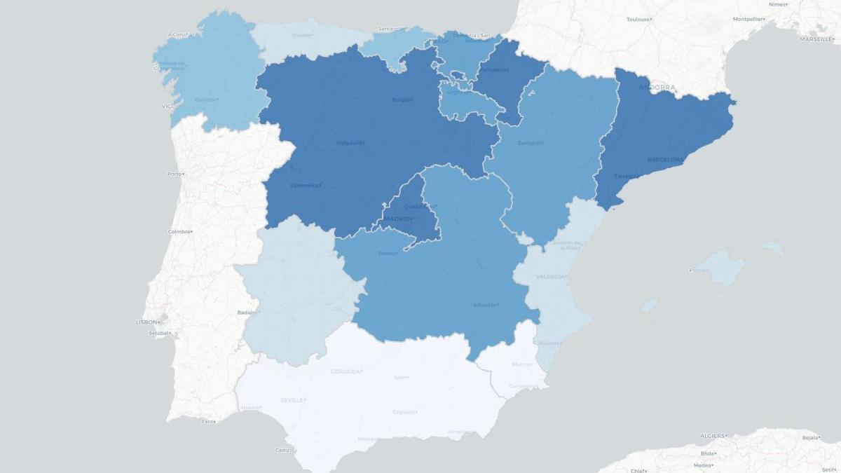 Mapa de incidencia de la Covid-19 en España.
