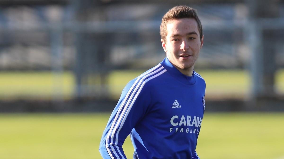 Marc Aguado, en un entrenamiento con el Real Zaragoza.