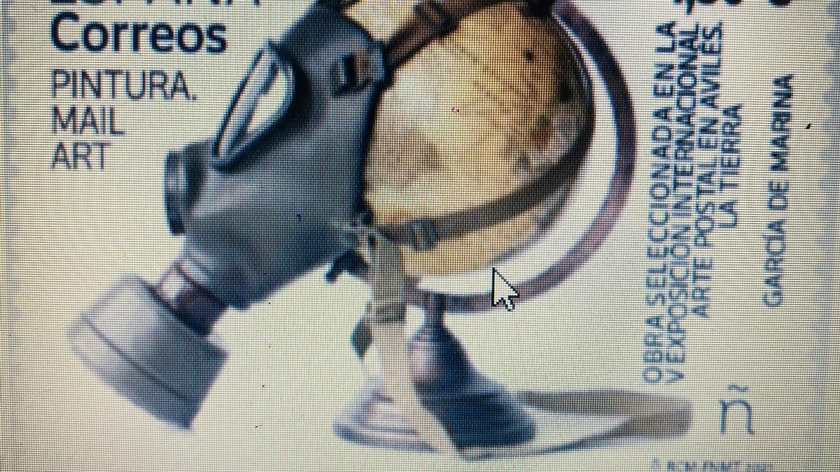 El sello dedicado a la V Exposición Internacional de Arte Postal en Avilés