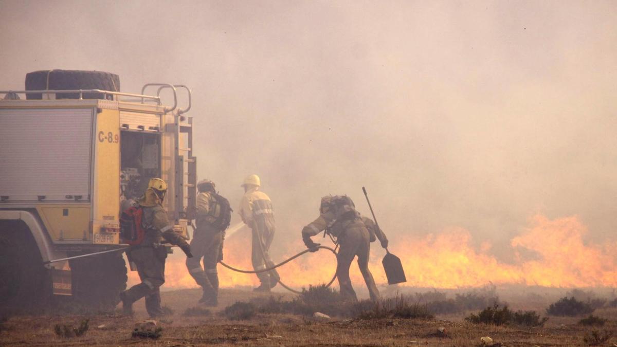 Extinción de un incendio forestal en la provincia