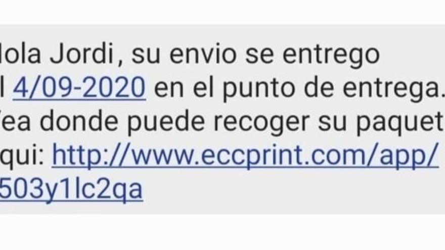 Alerten d'una nova estafa per SMS avisant de paquets pendents de recollir