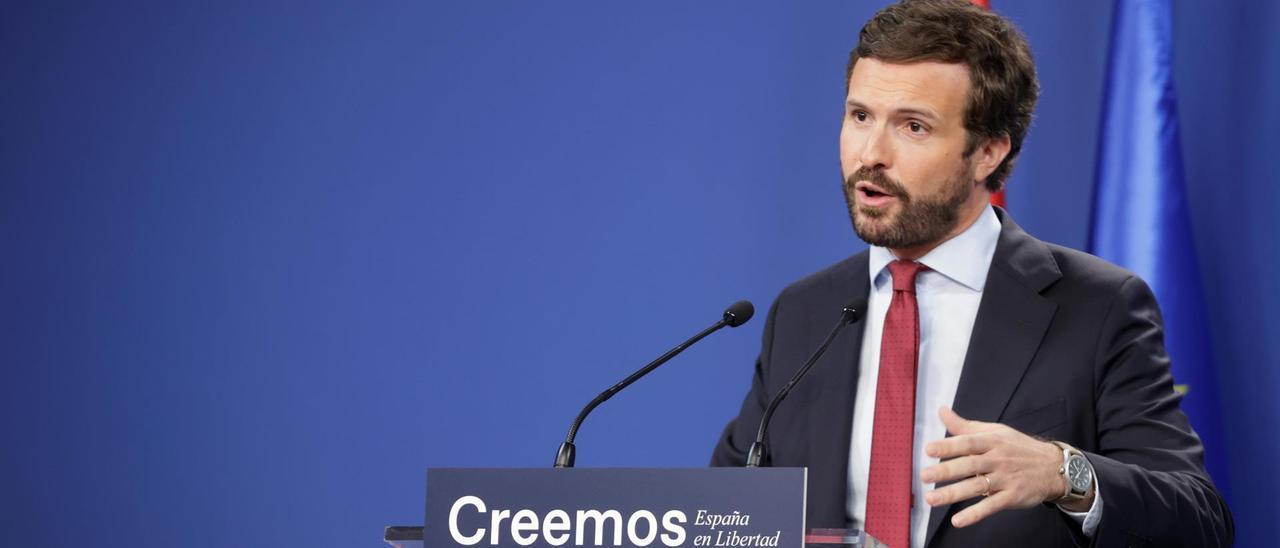 Pablo Casado, durante su rueda de prensa.