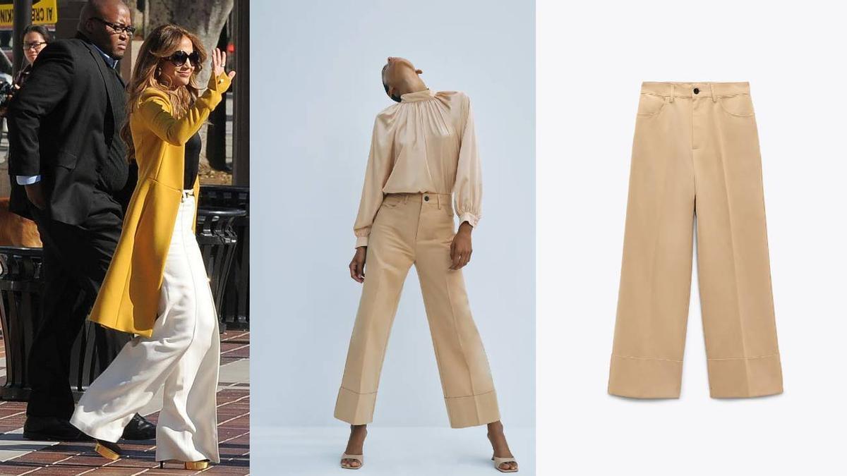 A la izquierda, JLo con su pantalón y a la derecha dos imágenes del lanzado por Zara