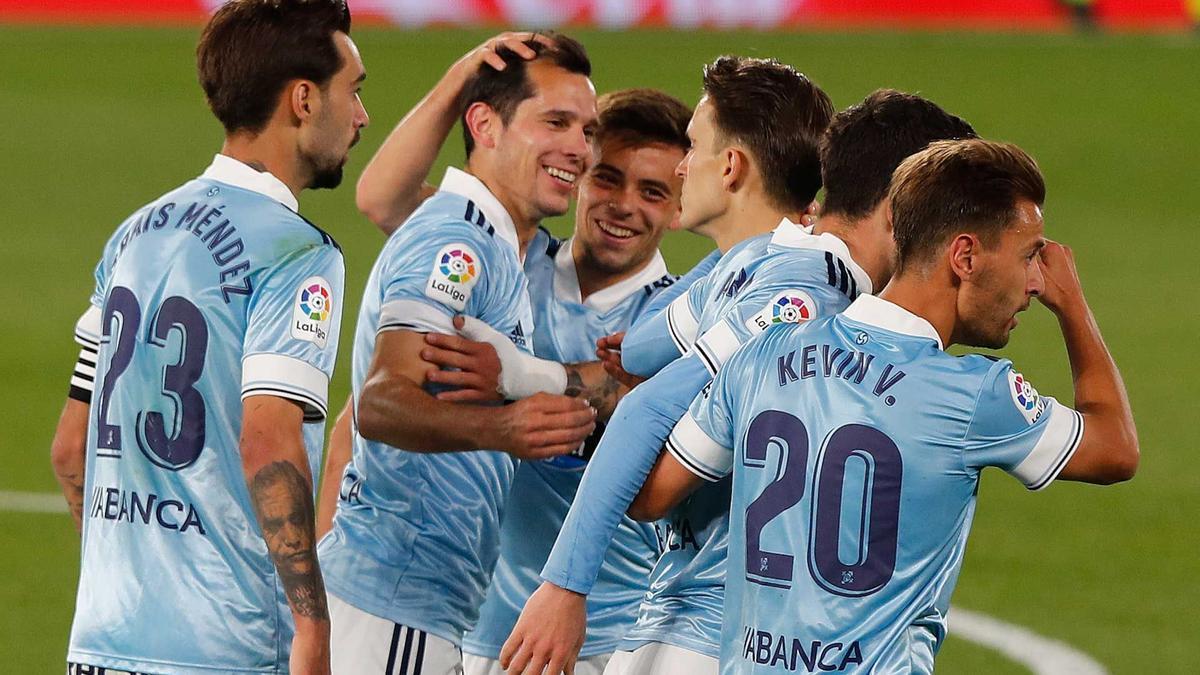 Celebración del segundo gol del Celta en Balaídos.