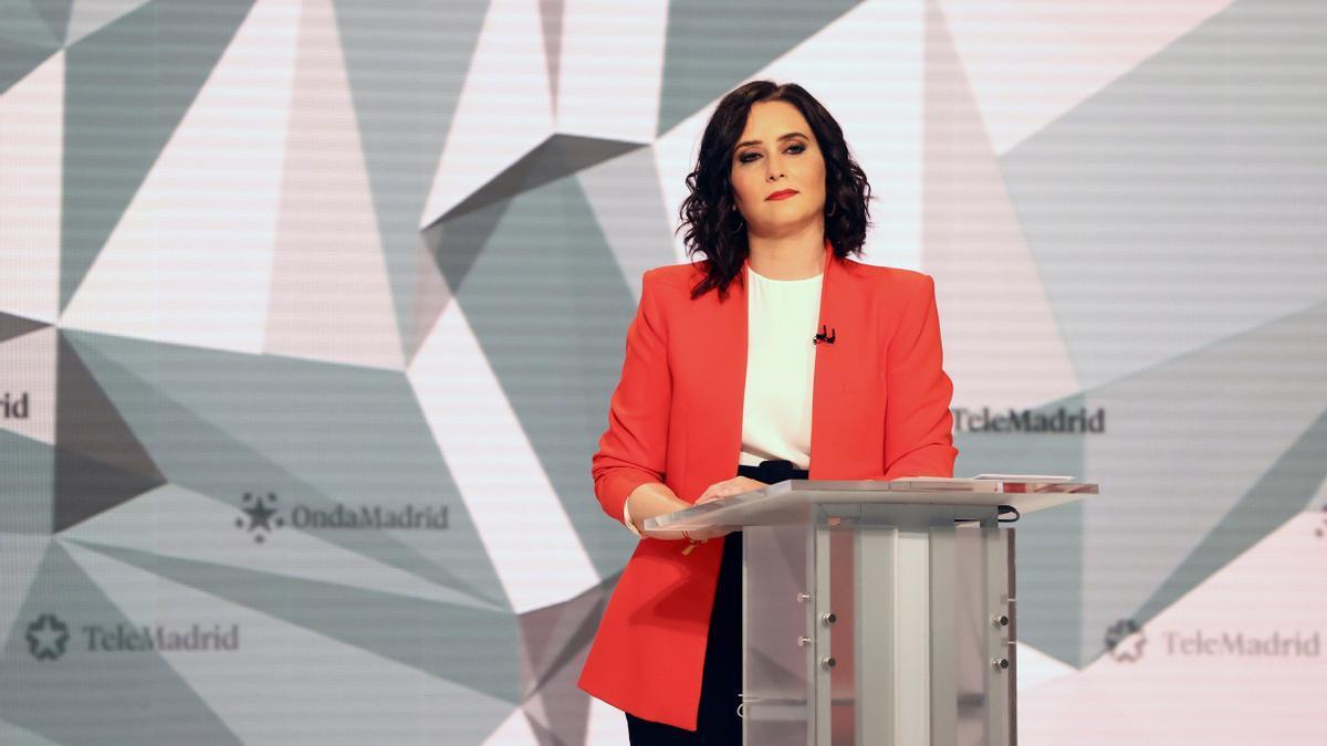 Isabel Díaz Ayuso, durante el debate.