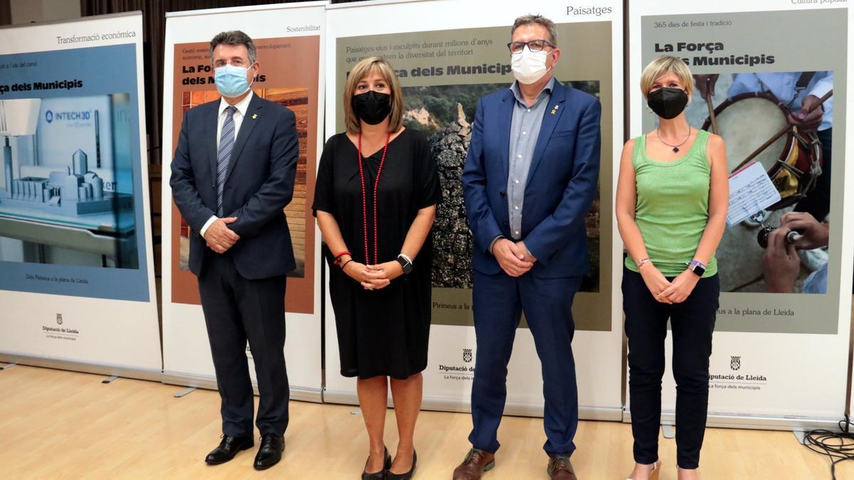 Els presidents de les quatre diputacions catalanes, Joan Talarn (Lleida), Núria Marín (Barcelona), Miquel Noguer (Girona) i Noemí Llauradó (Tarragona)