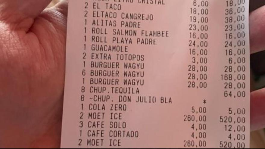La cuenta de la que se mofa Twitter: 4.000 euros por una hamburguesa y Don Perignon