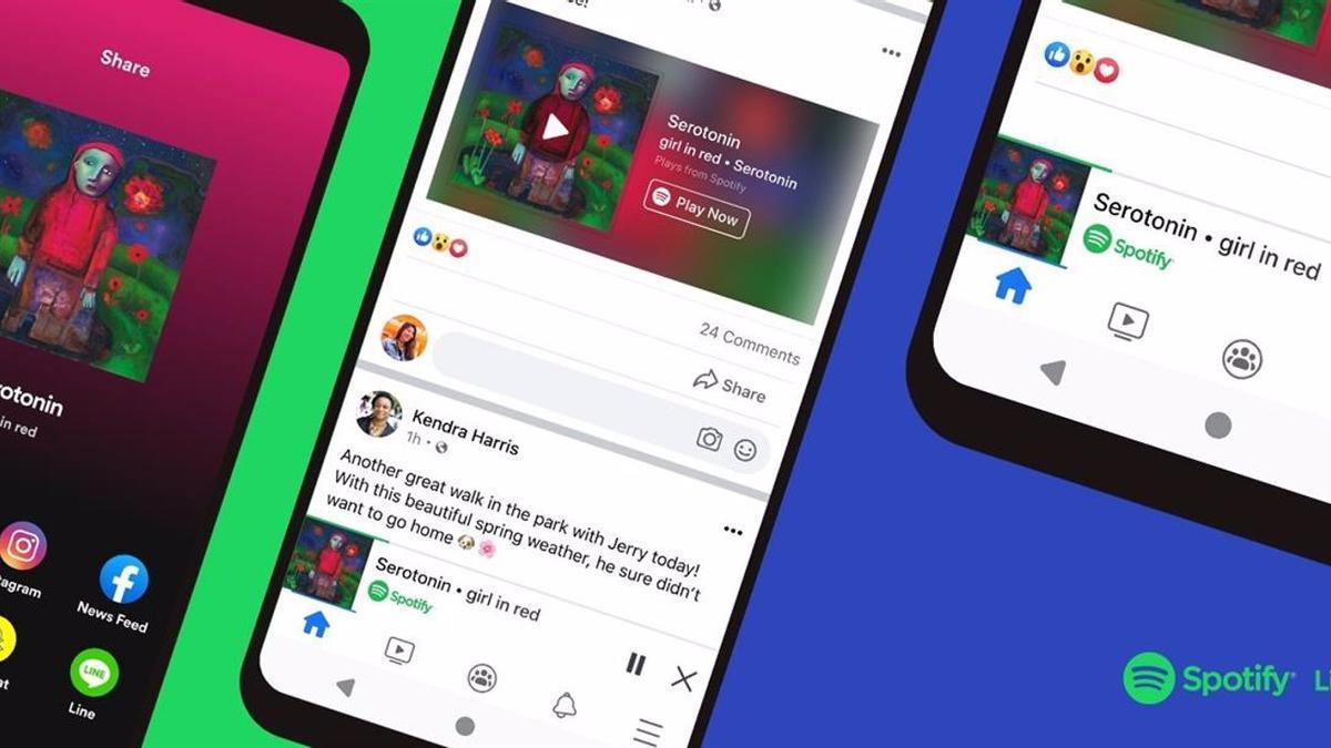 Facebook y Spotify desde los dispositivos móviles.