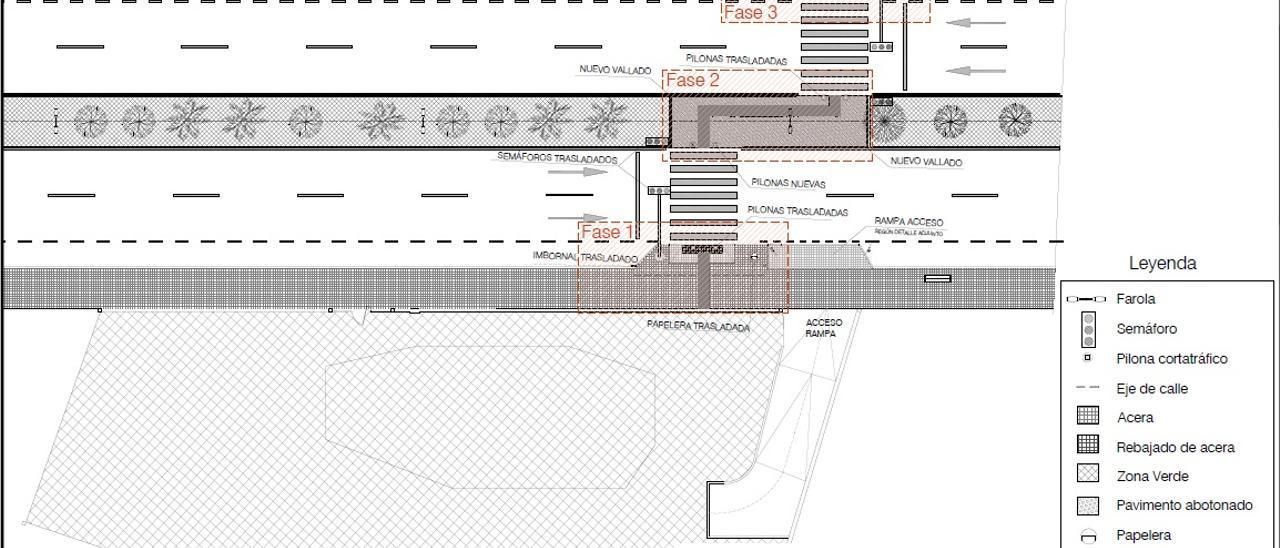 Plano sobre las obras de peatonalización en la avenida Costa Blanca, Alicante
