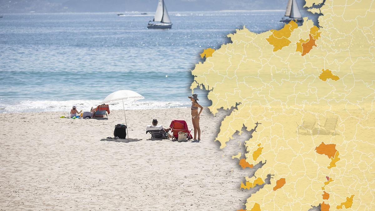 Imagen de fondo: varias personas en una playa de Sanxenxo, Pontevedra