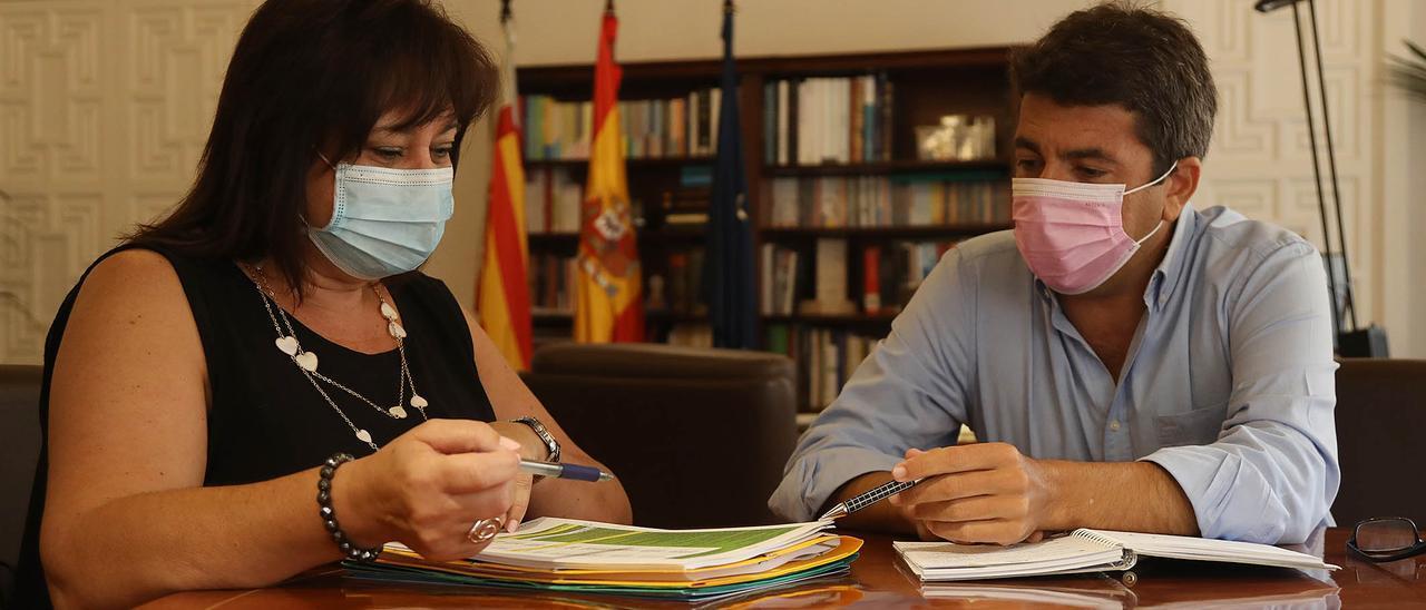 Mª Carmen Jover y Carlos Mazón en una reunión.