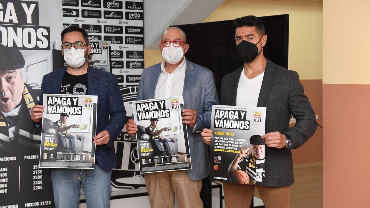 Presentación de la campaña de abonados del FC Cartagena bajo el lema 'Apaga y Vámonos'.