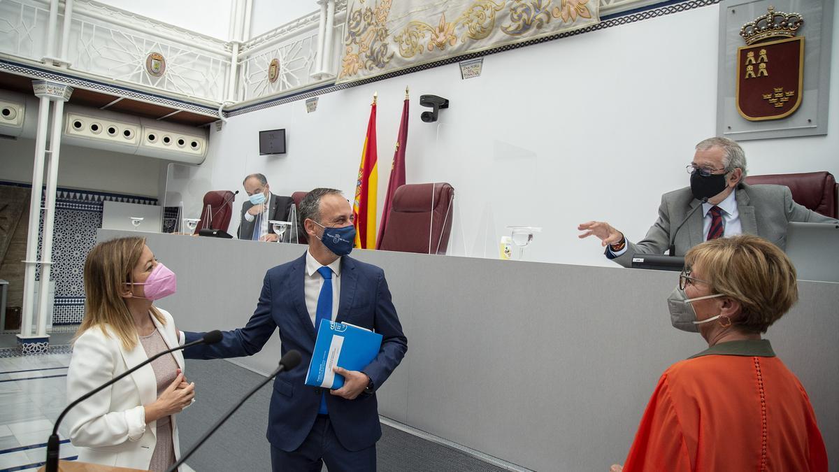 Valcárcel, Celdrán, Castillo y Pelegrín charlan antes del pleno de Asamblea.