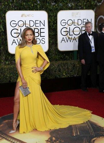 Jennifer Lopez arrives at the 73rd Golden Globe Awards in Beverly Hills