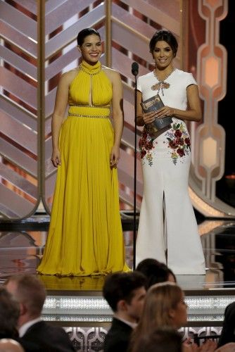 Handout photo of America Ferrera and Eva Longoria presenting at the 73rd Golden Globe Awards in Beverly Hills