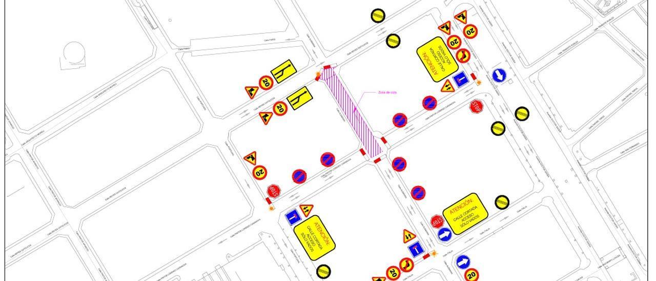 Imagen de las calles que quedarán cortadas por las obras