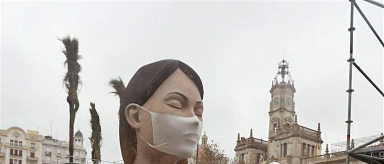 La «meditadora», remate de la falla municipal de 2020, no se quemó por el coronavirus.