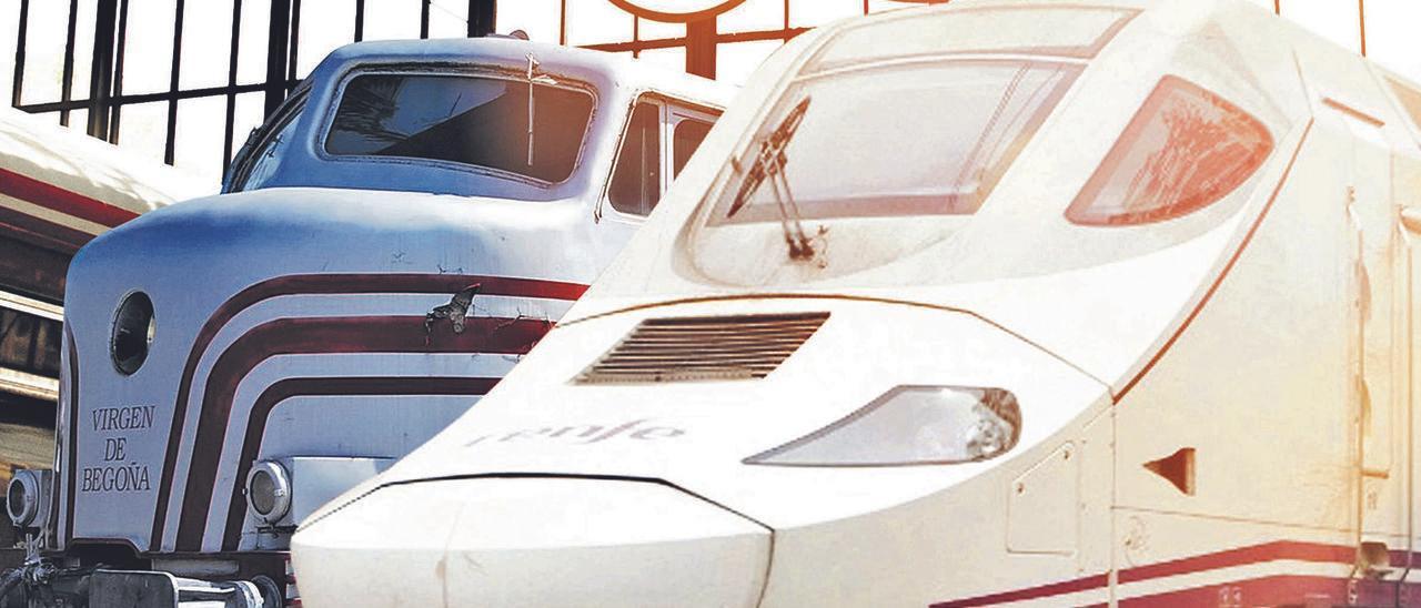 Imagen compuesta a partir de dos locomotoras separadas por más de medio siglo de tecnología.