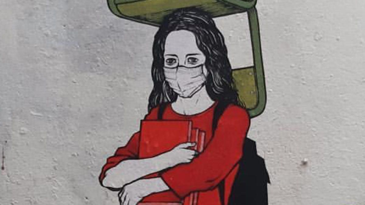 Detalle de la primera obra de Primo Banksy en Vigo