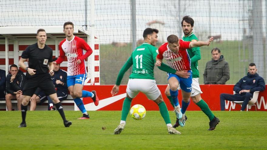 El Sporting B pone fin a su racha en casa frente al Racing de Ferrol