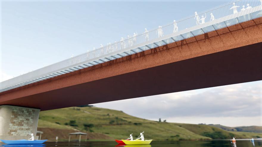 El nuevo puente de Arriondas tendrá un ancho de 14 metros y contará con una acera de cristal sobre el río Sella