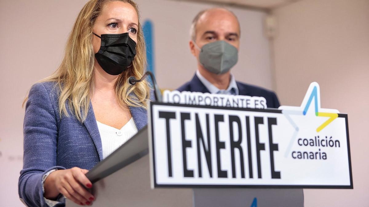 Los diputados nacionalistas Rosa Dávila y José Alberto Díaz-Estébanez critican el cierre de la hostelería en Tenerife.
