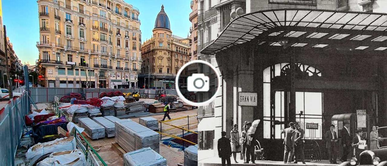 A la izquierda, estado actual de las obras de reconstrucción del templete en Gran Vía. A la derecha, templete original en 1940.