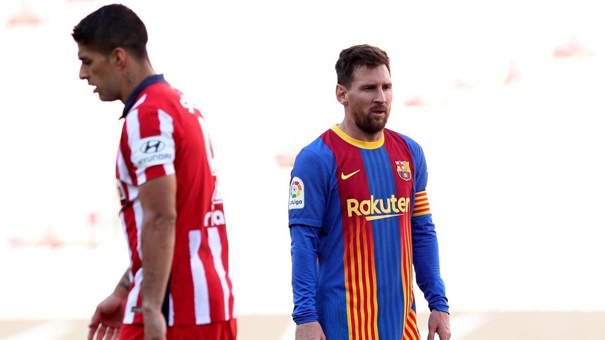 Una imagen de los excompañeros Luis Suárez y Leo Messi.