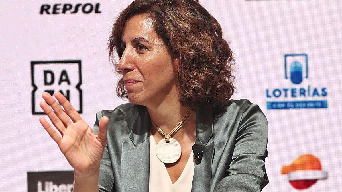 Irene Lozano, durante un foro sobre el Deporte español celebrado en Madrid.