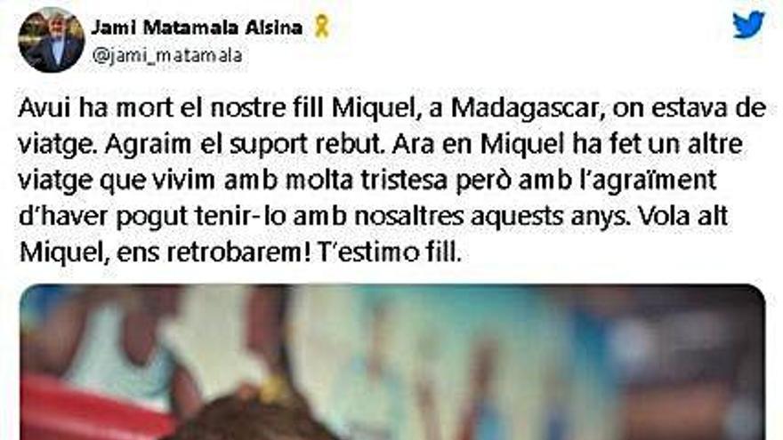 Mor Miquel Matamala,  fill de Jami Matamala,  a Madagascar