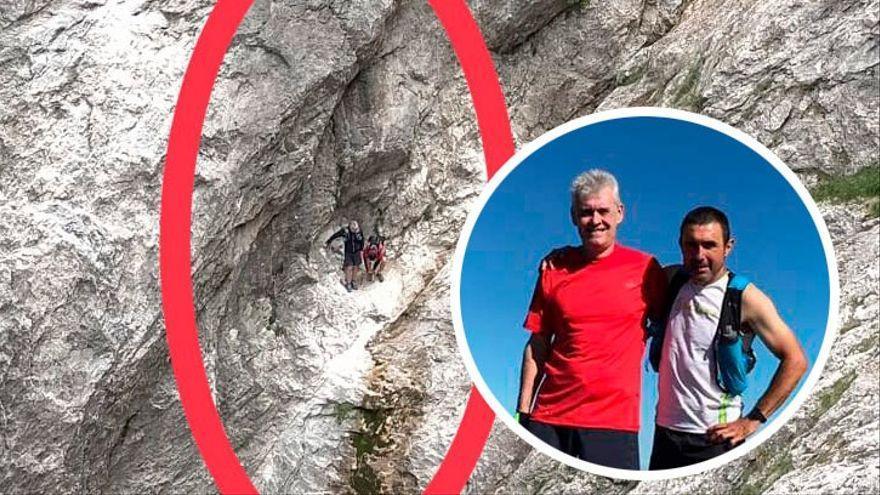 Encuentran enriscados en una pared vertical  a los dos montañeros extraviados en Picos de Europa desde el domingo