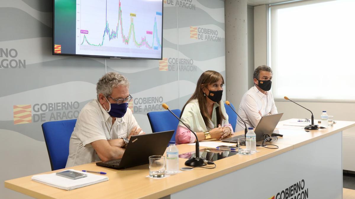 La consejera de Sanidad de la DGA, Sira Repollés, este martes junto a los directores generales Chema Abad y Francisco Javier Falo.