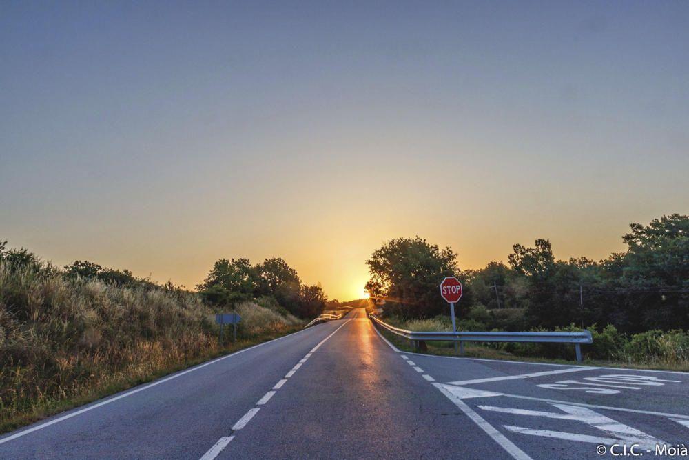 Sortida del sol. Imatge enviada per un lector només començar el dia per Collsuspina. Com podem veure, el sol treu el cap per darrere l'arbre i comença a il·luminar la carretera amb uns rajos potents.