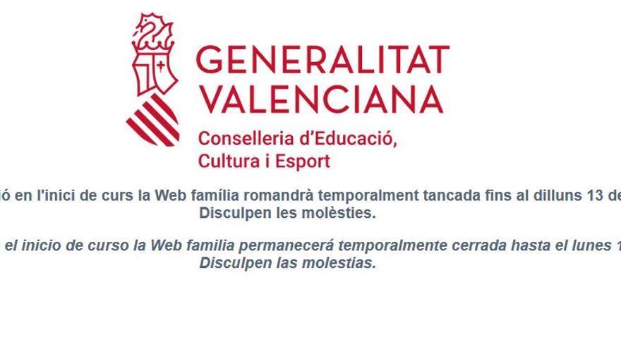 """Web Família, fuera de servicio hasta el 13 de septiembre:  """"Es inconcebible y una falta de respeto"""""""